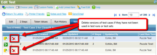 Delete versions of test cases if they have not been used in test runs
