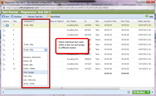 Select individual test cases within a test run and assign to different testers