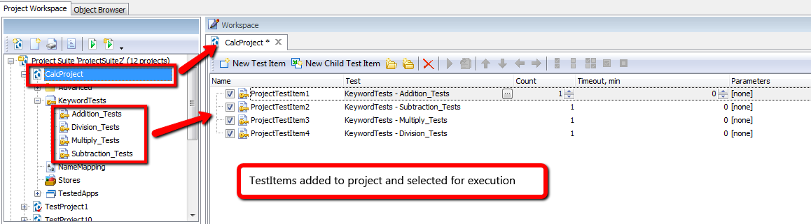 Defining Test Items In TestComplete
