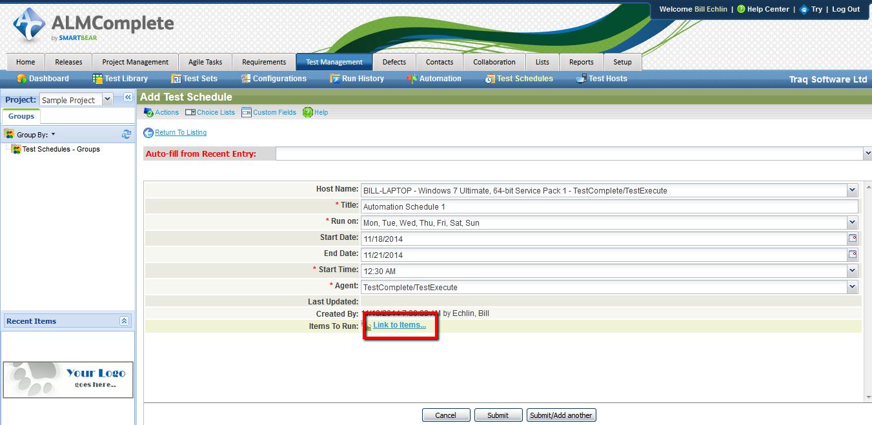 Define Test Schedule in QAComplete