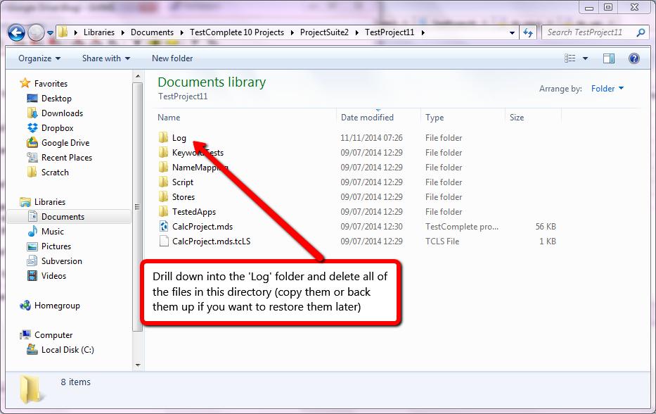 Delete Log Files In TestComplete