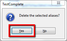 Confirm Delete Object Alias In TestComplete