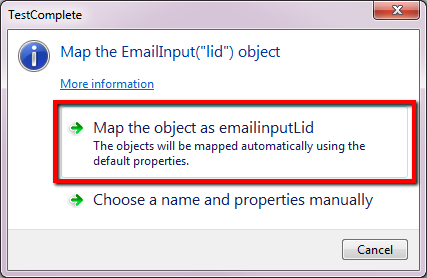 Map Object Automatically In TestComplete