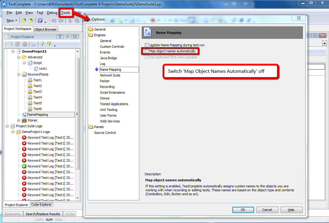 Switch Name Mapping Off In TestComplete