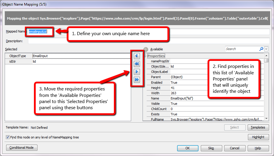 Map Object and Properties Manually In TestComplete