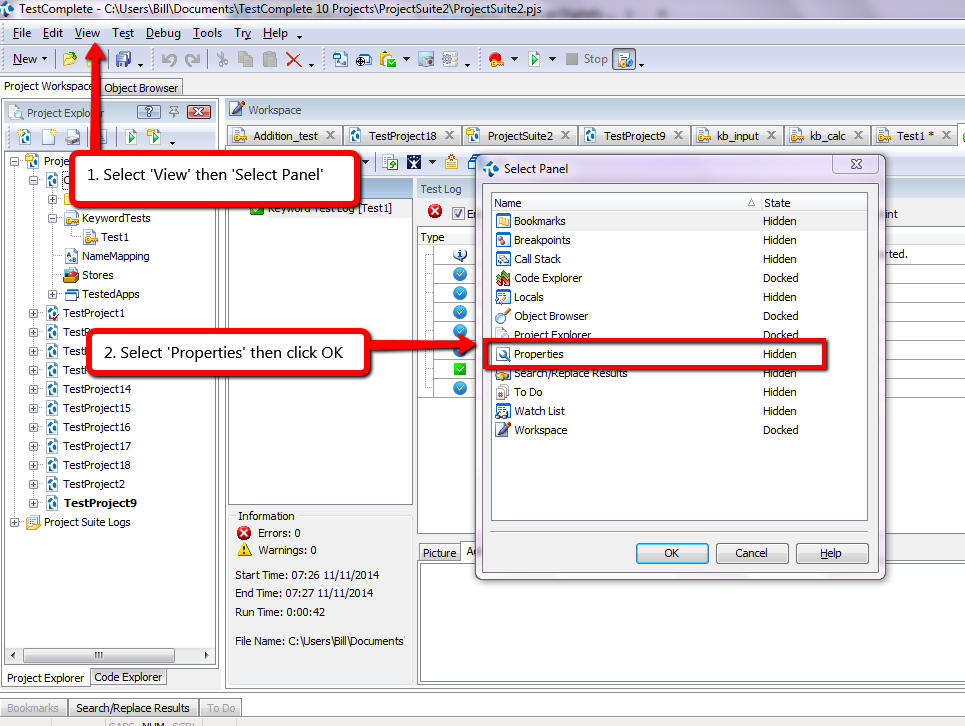 Project Suite Location In TestComplete