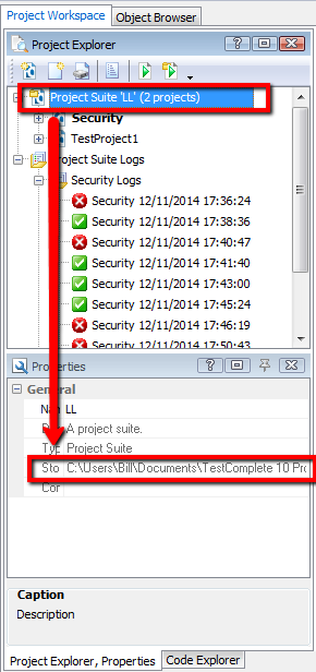 Project Suite Location (2) In TestComplete