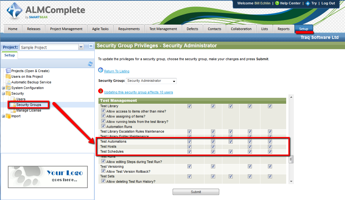 Security Admin Settings in QAComplete