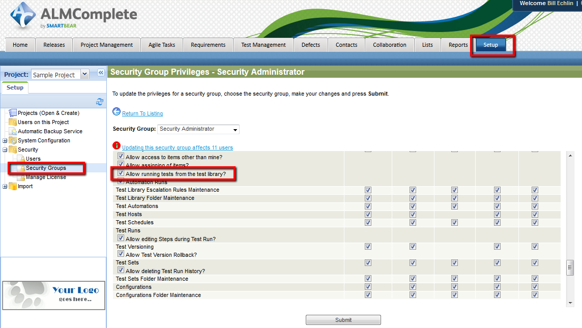 Setting Security Privileges in QAComplete