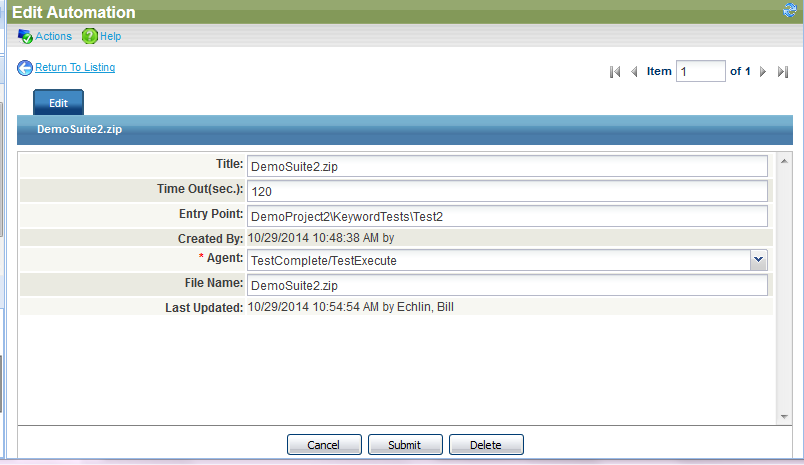 Test Case Record in QAComplete