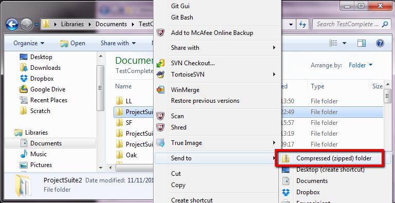 Zip up Project Suite In TestComplete
