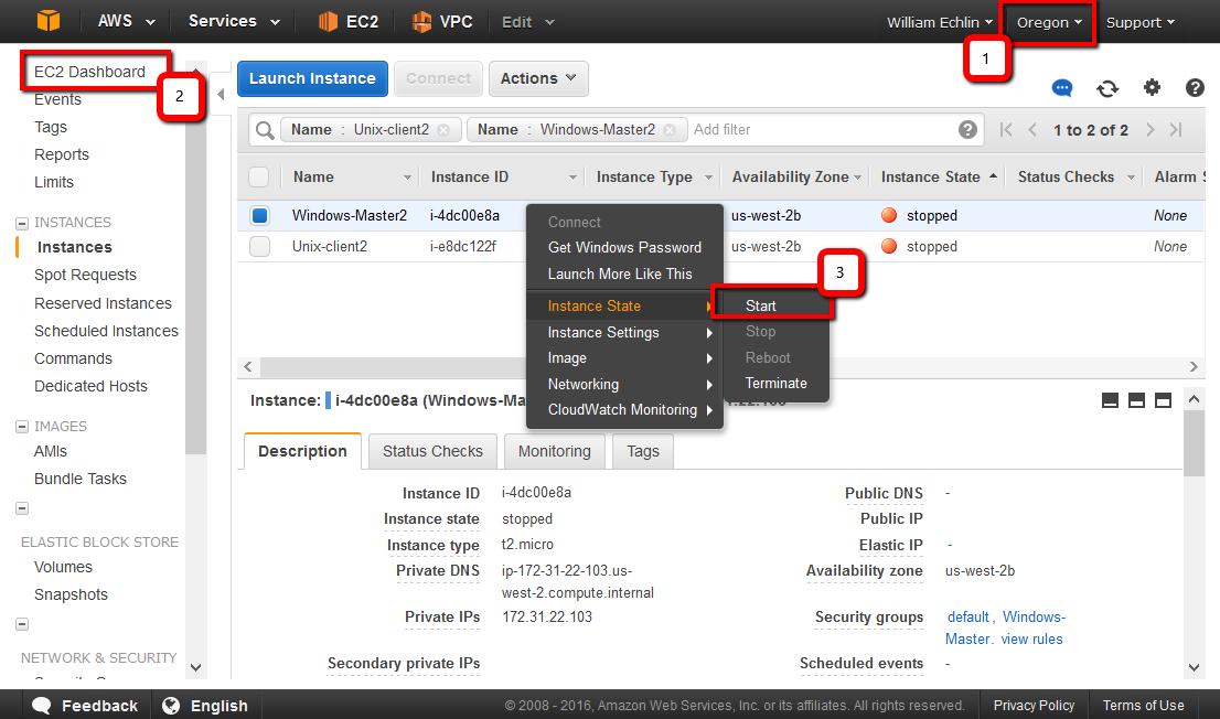 BTS module2 img2 AWS start instance