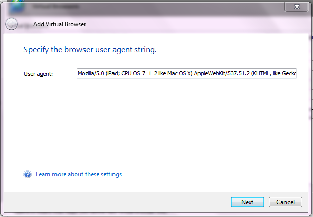 Specify The User Agent String