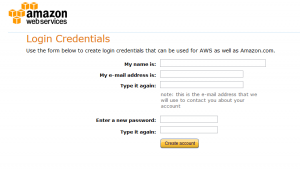 AWS sign up step 2