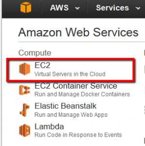 AWS Management Console EC2 Option