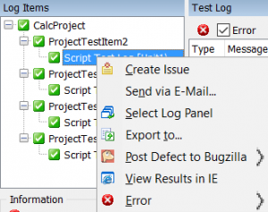TestComplete log menu