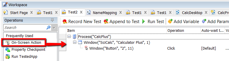 Testcomplete on screen operations