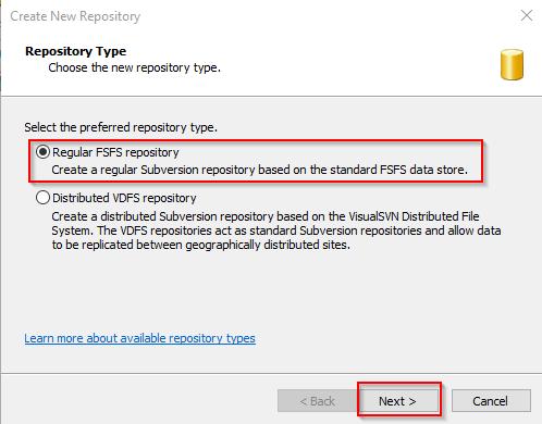 Visual SVN Server Create 2nd Repo