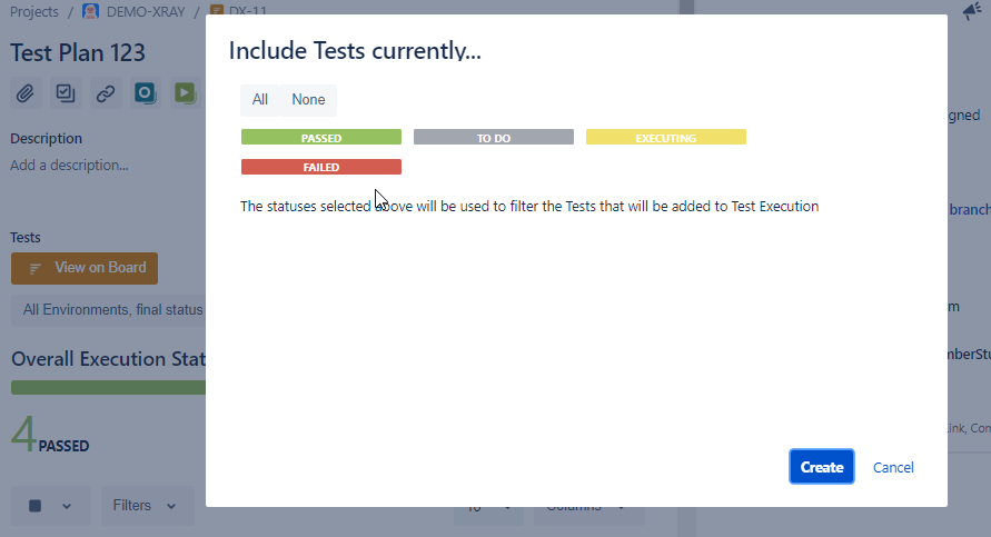 XRay Test Plan Execution Status