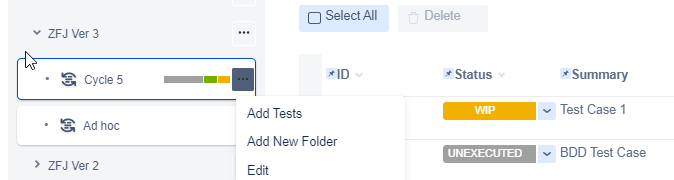 Zephyr for Jira Add test to cycle