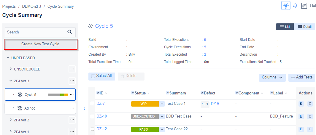 Zephyr for Jira Create new test cycle