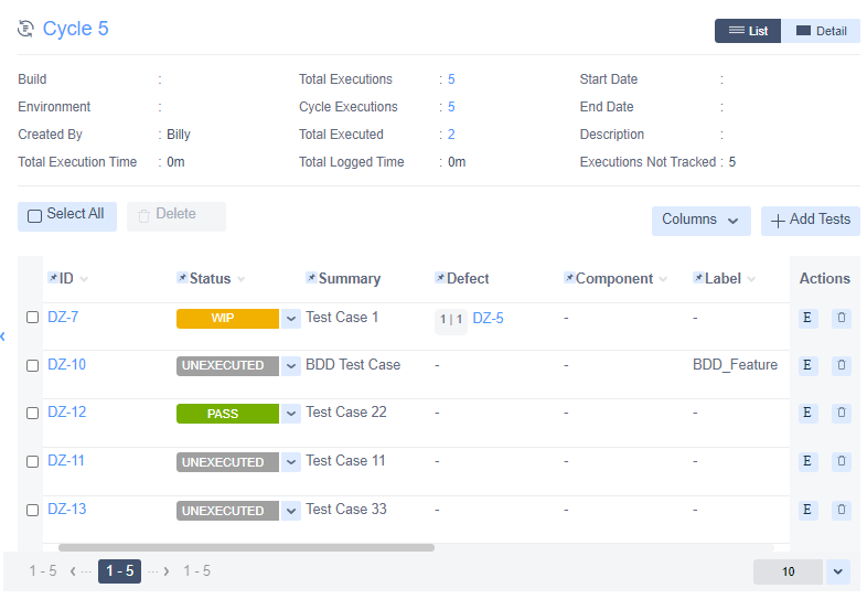 Zephyr for Jira Cycle execution