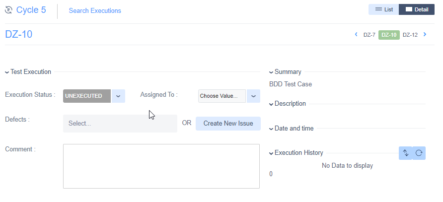 Zephyr for Jira Cycle test execution