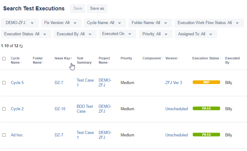 Zephyr for Jira Test Executions